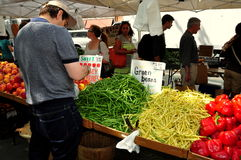 NYC: People Shopping at Sunday Farmer's Market stock photography