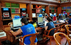 NYC: People Using Computers at the NY Public Library Royalty Free Stock Image