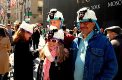 NYC:  People Wearing Bonnets at the Easter Parade Royalty Free Stock Photo