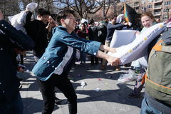 The 2015 NYC Pillow Fight 177 Royalty Free Stock Image