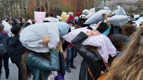 The 2016 NYC Pillow Fight Day Part 2 48 Stock Photography