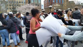 The 2016 NYC Pillow Fight Day Part 2 85 Royalty Free Stock Photos