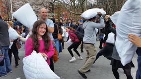 The 2016 NYC Pillow Fight Day Part 3 1 Royalty Free Stock Photography