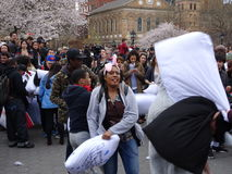 The 2016 NYC Pillow Fight Day 1 Royalty Free Stock Image