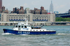 NYC Police Boat on the East River Stock Photo