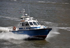 NYC: Police Boat on East River Royalty Free Stock Image