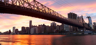 NYC Queensboro Bridge panorama Royalty Free Stock Images