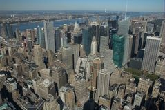 NYC Rooftops. A view of Midtown Manhattan from the Empire State Building stock images