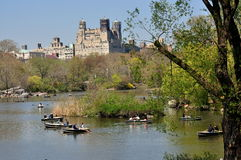 NYC: Rowboats on Central Park's Boating Lake Stock Image