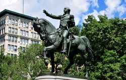NYC: Ruiterstandbeeld van George Washington Royalty-vrije Stock Afbeeldingen