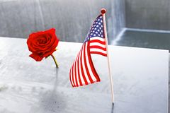 NYC-` s 9 Denkmal 11 am World Trade Center-Bodennullpunkt Lizenzfreie Stockfotos
