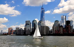 NYC: Sailboat and Lower Manhattan Skyline Stock Image