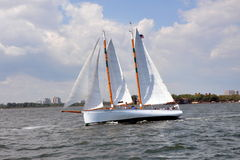 NYC: Sailboat in New York Harbour Stock Photos