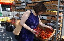 NYC: Shopper at Farmer's Market Stock Photo