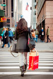 NYC Shopper with Macys Bag Royalty Free Stock Image