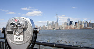 NYC Sightseeing. Binoculars for Sightseeing of NYC Royalty Free Stock Photos