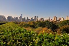 NYC: Sikt av Manhattan horisont från Central Park Arkivfoton