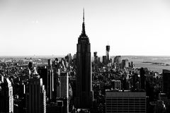 NYC Sky-scape facing Lower Manhattan. New York Citys Horizon and skyscape as seen facing south. Featured within this photo amongst many others is the Empire Royalty Free Stock Images