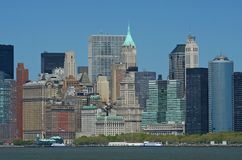 NYC skyline. Under a clear blue sky Stock Photo