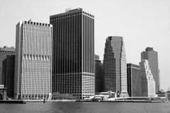 NYC Skyline in Black@White. NYC skyline, seen from the river, in black and white Stock Images