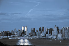 Nyc skyline in blue and black tones. New york city skyline in blue and black tones Stock Photo