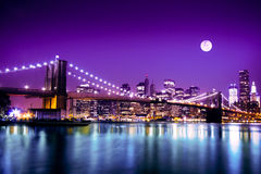 NYC Skyline and Brooklyn Bridge Stock Photos