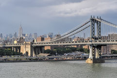 NYC Skyline from the Brooklyn Bridge Royalty Free Stock Photography