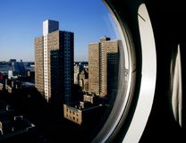 NYC skyline from a circular window Stock Photography