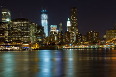 NYC Skyline at night Stock Image