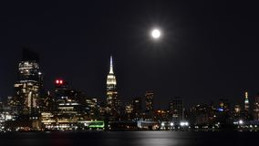 NYC Skyline at Night Stock Images