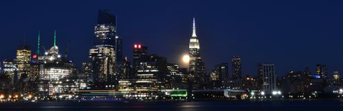 NYC Skyline at Night Royalty Free Stock Images