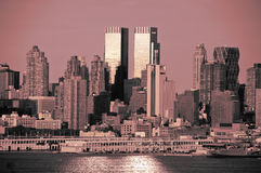 Nyc skyline in red and black tones Royalty Free Stock Images