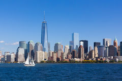 Nyc skyline with sailboat Royalty Free Stock Images