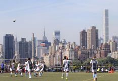 NYC Skyline Soccer Game Royalty Free Stock Images