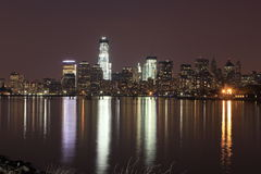 NYC skyline at sunset. New York City skyline taken from New Jersey Royalty Free Stock Photo