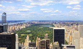 NYC skyline from Top of the Rock. Luxury apartment and corporate towers in midtown Manhattan and a view to the Upper West Side and Central Park in Summer Day Royalty Free Stock Photos