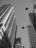 Nyc skyscrapers. In gray royalty free stock photo