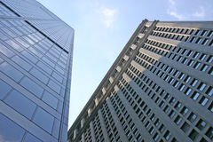 NYC Skyscrapers. Two skyscrapers located in the financial district of NYC stock photo