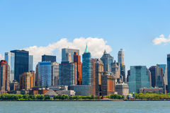 NYC Skyscrapers off the Hudson River in Lower Manhattan. The West Side of Lower Manhattan is seen here as well as Battery Park City and the many skyscrapers and Stock Photo