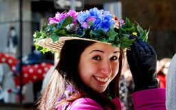 NYC: Smilng Woman at the Easter Parade Royalty Free Stock Images