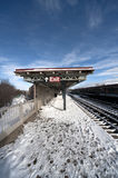 NYC Snow. Elevated Train Station covered in Snow in the Bronx Royalty Free Stock Images