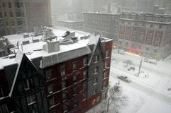 NYC: Snow Storm on Broadway Stock Photography