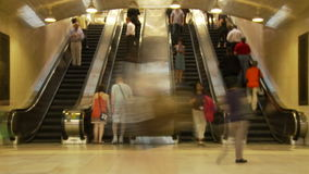 Nyc station escalator timelapse stock video