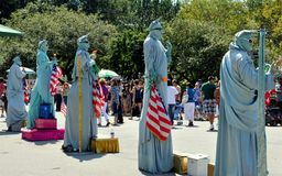 NYC: Statue of Liberty Mimes Royalty Free Stock Images
