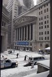 NYC stock exchange under the february 26 snow stock photography