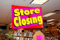 NYC: Store Closing Sign at Tower Records Stock Images