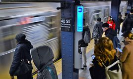 NYC 42 Street Port Authority Transportation Rush Hour Commute People New York City Subway Traveling stock images