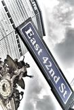 NYC street signs. East 42nd Street. East 42nd Street sign in New York City, USA stock image