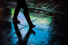 NYC streets after rain with reflections on wet asphalt Stock Image