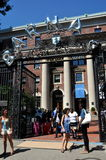 NYC: Students at Barnard College. New students gather in front of the entry gate at the Barnard College of Columbia University campus during orientation week at Royalty Free Stock Photos